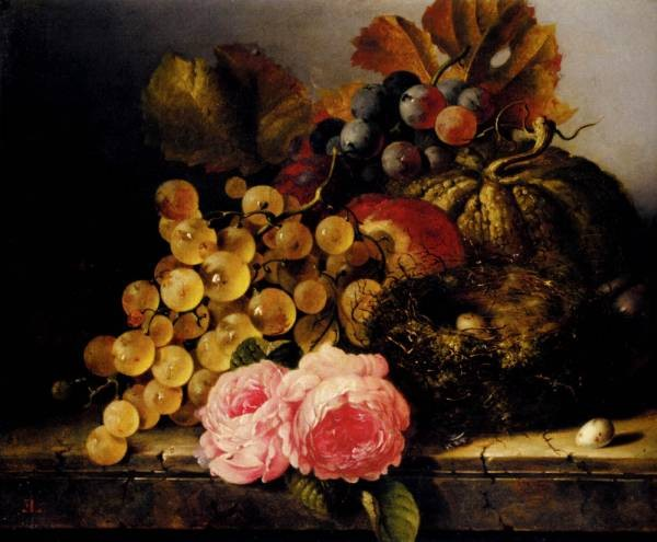 Still Life With A Birds Nest Roses A Melon And Grapes